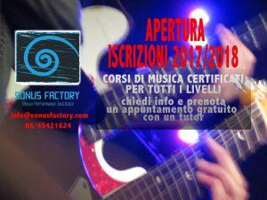 Scuola di Musica - Sonus Factory - Apertura Iscrizioni 2017-18